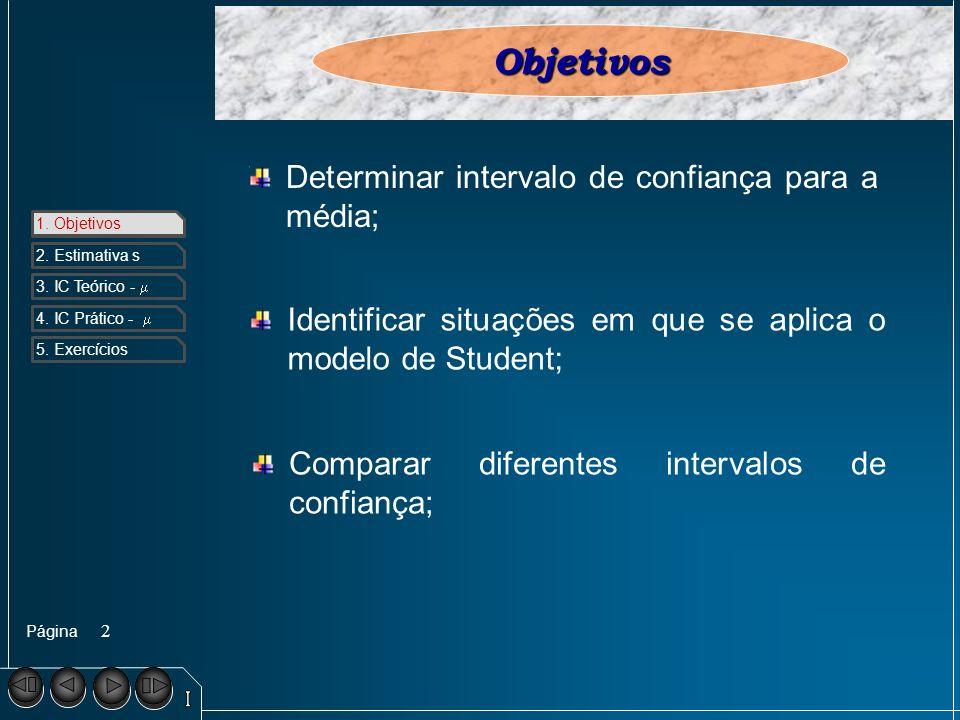 Página 1. Objetivos 2. Estimativa s 3. IC Teórico - 4. IC Prático - 5. Exercícios 2 1. ObjetivosObjetivos Determinar intervalo de confiança para a méd