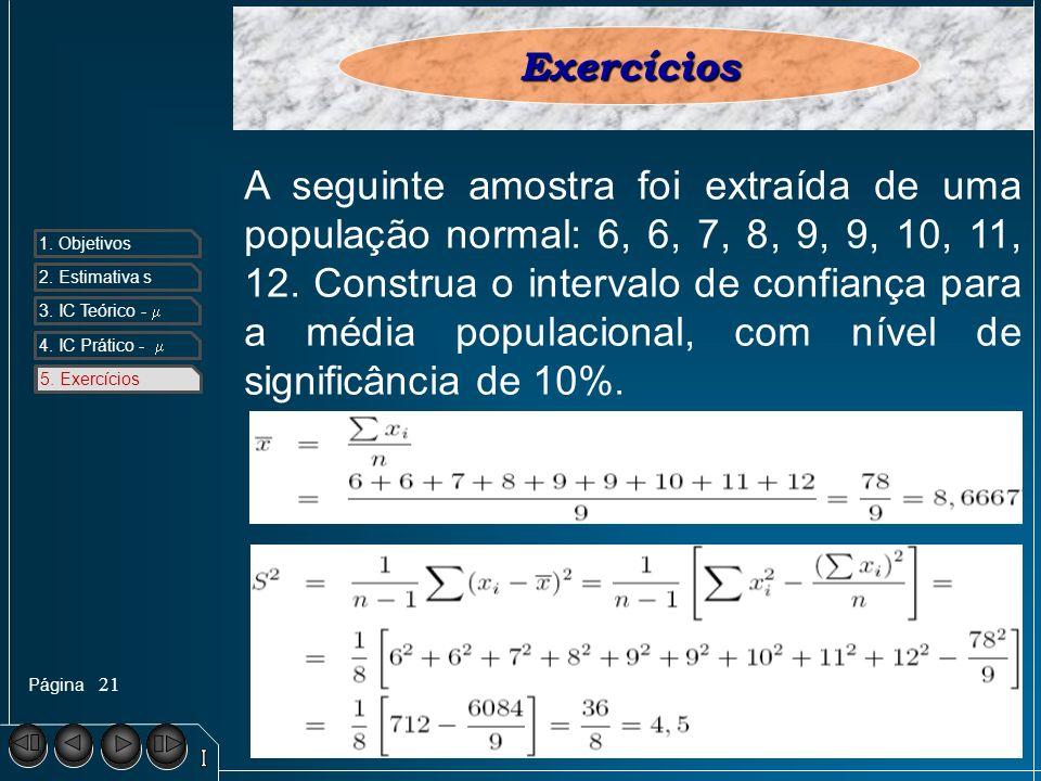 Página 1. Objetivos 2. Estimativa s 3. IC Teórico - 4. IC Prático - 5. Exercícios 21 5. ExercíciosExercícios A seguinte amostra foi extraída de uma po