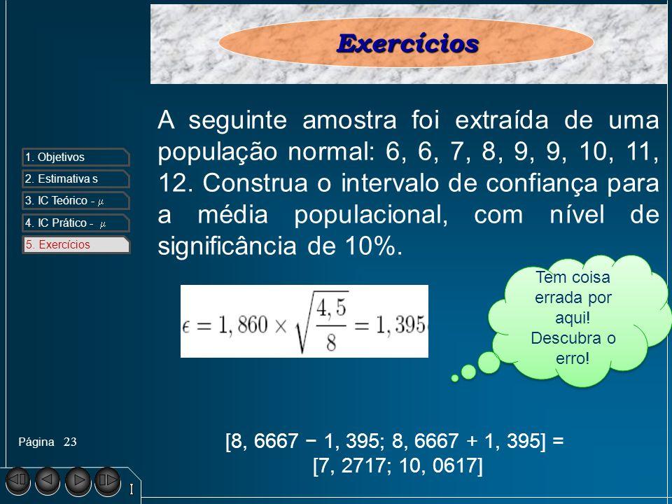 Página 1. Objetivos 2. Estimativa s 3. IC Teórico - 4. IC Prático - 5. Exercícios 23 5. ExercíciosExercícios A seguinte amostra foi extraída de uma po