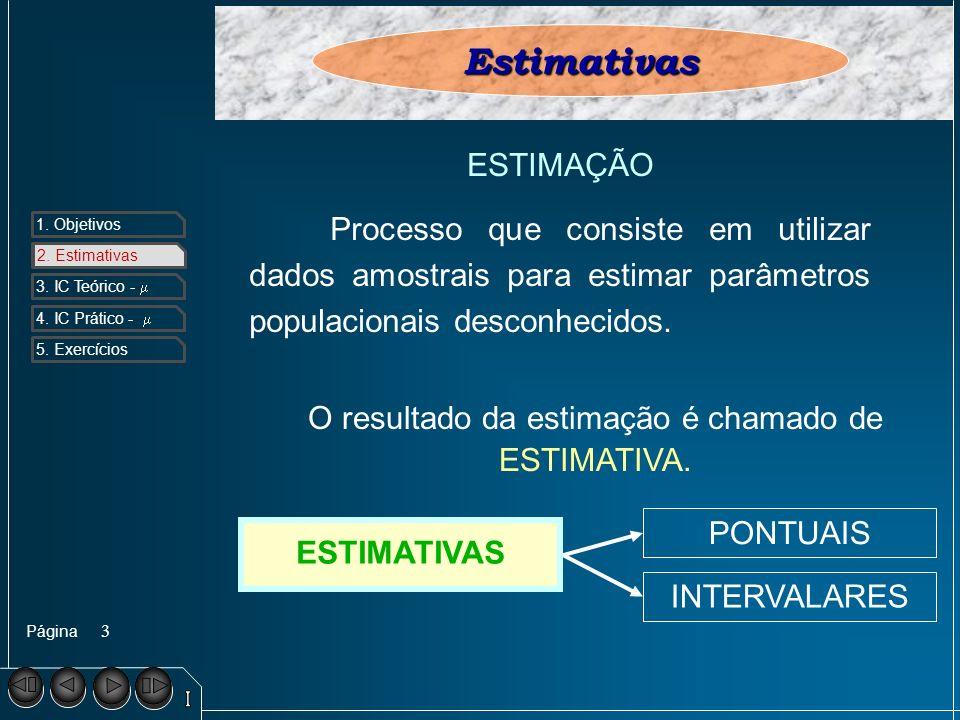 Página 1. Objetivos 2. Estimativa s 3. IC Teórico - 4. IC Prático - 5. Exercícios 3 2. EstimativasEstimativas ESTIMAÇÃO Processo que consiste em utili