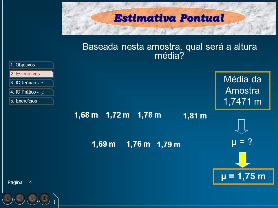 Página 1. Objetivos 2. Estimativa s 3. IC Teórico - 4. IC Prático - 5. Exercícios 4 2. Estimativas Estimativa Pontual 1,69 m1,76 m 1,79 m 1,68 m1,72 m