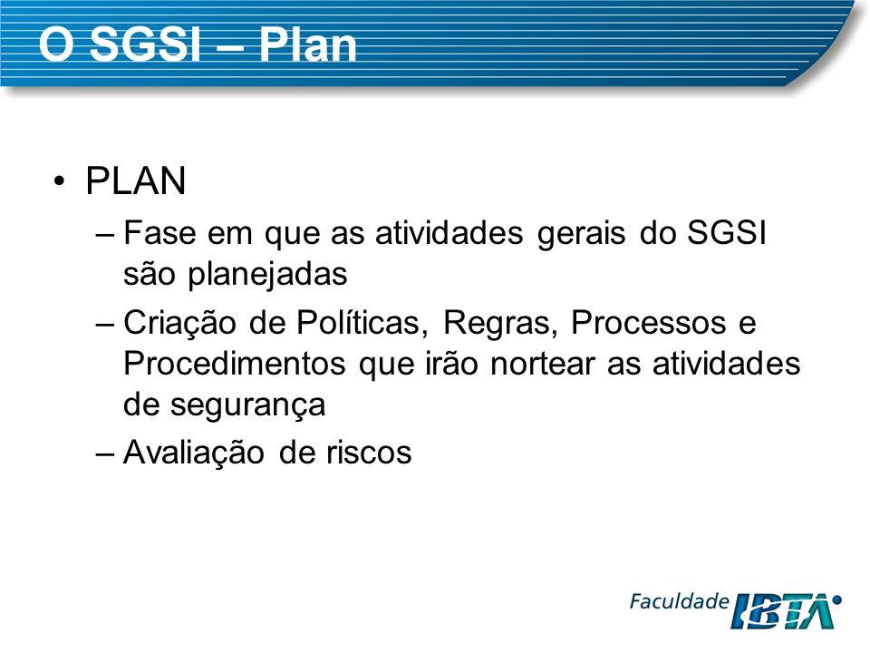 O SGSI – Plan PLAN –Fase em que as atividades gerais do SGSI são planejadas –Criação de Políticas, Regras, Processos e Procedimentos que irão nortear