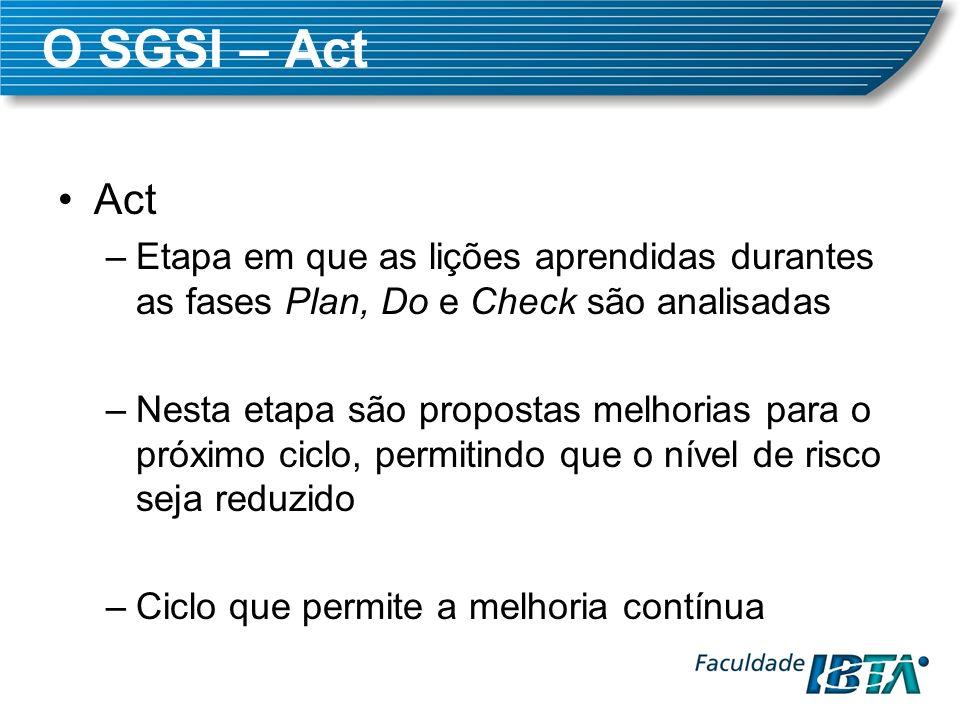 O SGSI – Act Act –Etapa em que as lições aprendidas durantes as fases Plan, Do e Check são analisadas –Nesta etapa são propostas melhorias para o próx