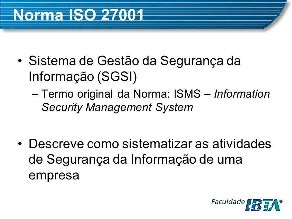 Norma ISO 27001 Sistema de Gestão da Segurança da Informação (SGSI) –Termo original da Norma: ISMS – Information Security Management System Descreve c