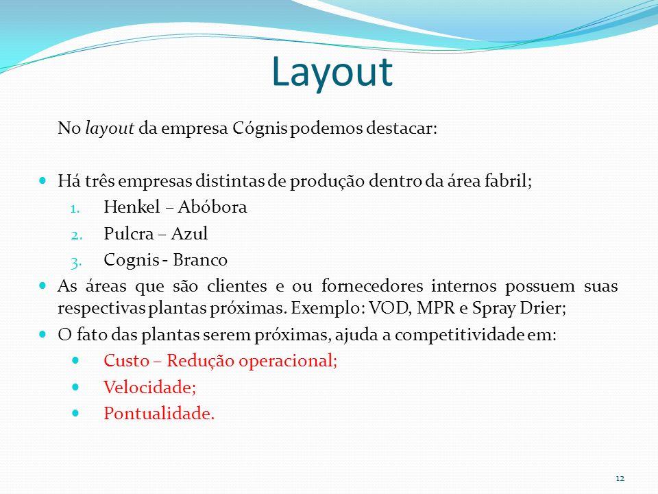 Layout 12 No layout da empresa Cógnis podemos destacar: Há três empresas distintas de produção dentro da área fabril; 1. Henkel – Abóbora 2. Pulcra –