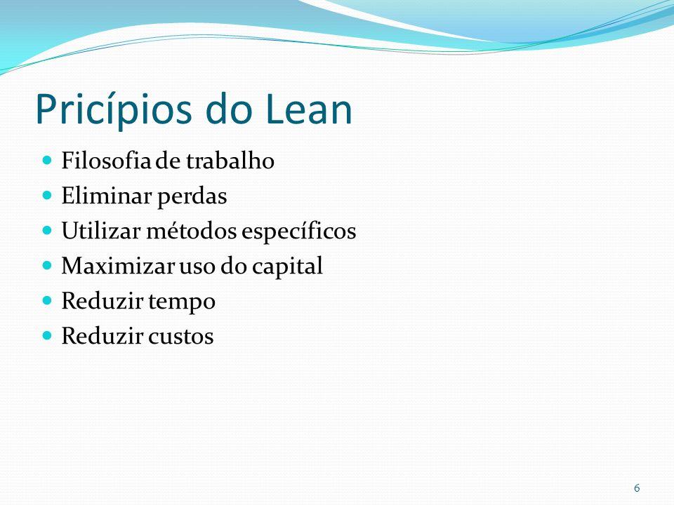 Pricípios do Lean Filosofia de trabalho Eliminar perdas Utilizar métodos específicos Maximizar uso do capital Reduzir tempo Reduzir custos 6