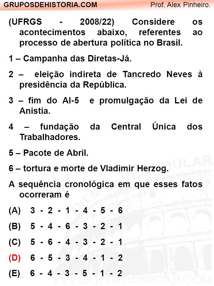 GRUPOSDEHISTORIA.COM Prof. Alex Pinheiro. (UFRGS - 2008/22) Considere os acontecimentos abaixo, referentes ao processo de abertura política no Brasil.