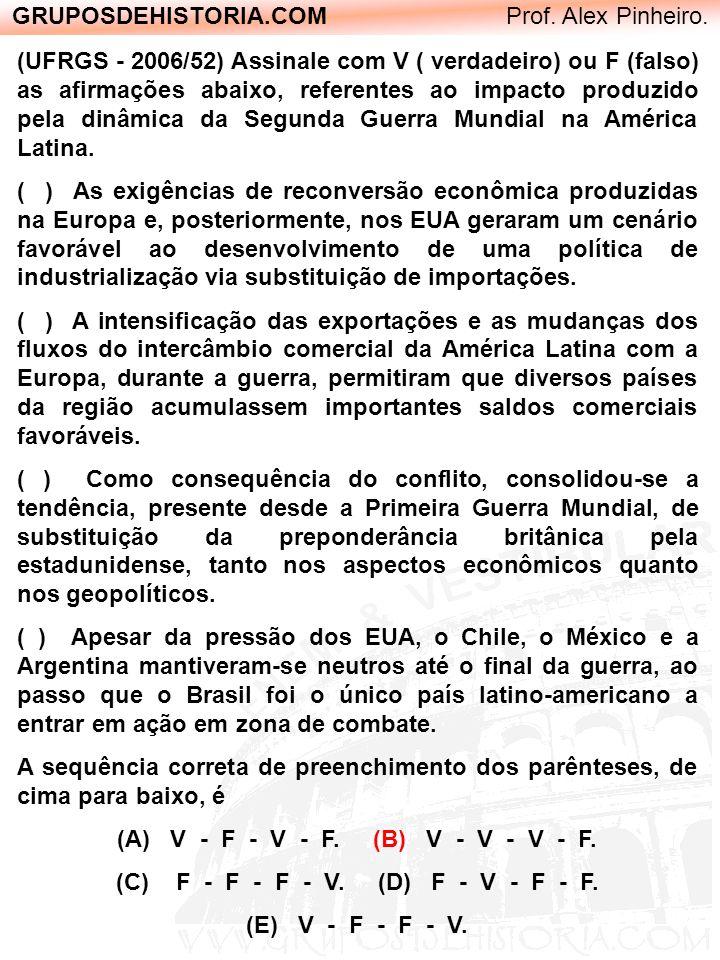 GRUPOSDEHISTORIA.COM Prof. Alex Pinheiro. (UFRGS - 2006/52) Assinale com V ( verdadeiro) ou F (falso) as afirmações abaixo, referentes ao impacto prod