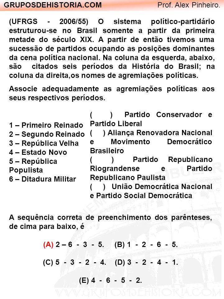 GRUPOSDEHISTORIA.COM Prof. Alex Pinheiro. (UFRGS - 2006/55) O sistema político-partidário estruturou-se no Brasil somente a partir da primeira metade