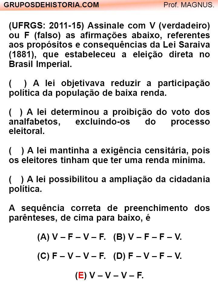 (UFRGS: 2011-15) Assinale com V (verdadeiro) ou F (falso) as afirmações abaixo, referentes aos propósitos e consequências da Lei Saraiva (1881), que e