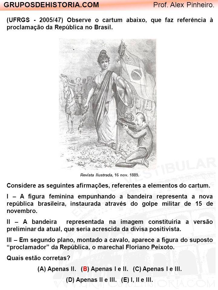 GRUPOSDEHISTORIA.COM Prof. Alex Pinheiro. (UFRGS - 2005/47) Observe o cartum abaixo, que faz referência à proclamação da República no Brasil. Revista