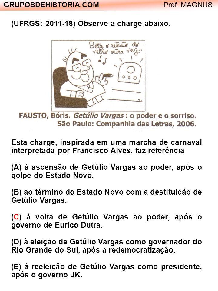 GRUPOSDEHISTORIA.COM Prof. MAGNUS. (UFRGS: 2011-18) Observe a charge abaixo. Esta charge, inspirada em uma marcha de carnaval interpretada por Francis