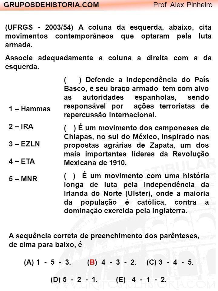 GRUPOSDEHISTORIA.COM Prof. Alex Pinheiro. ( ) Defende a independência do País Basco, e seu braço armado tem com alvo as autoridades espanholas, sendo