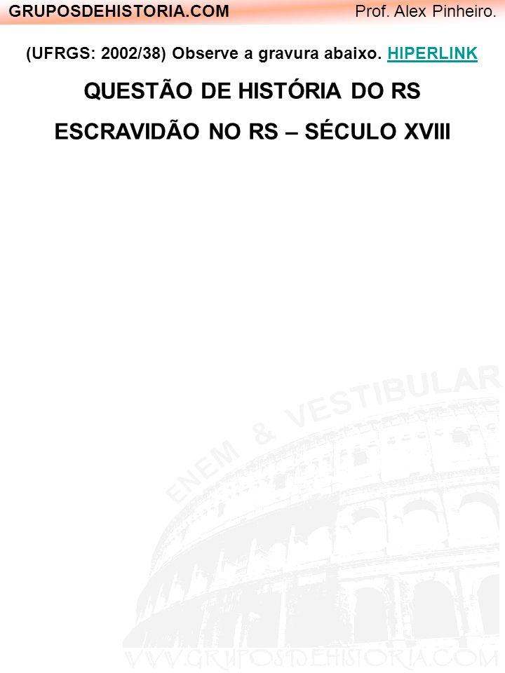 GRUPOSDEHISTORIA.COM Prof. Alex Pinheiro. (UFRGS: 2002/38) Observe a gravura abaixo. HIPERLINK QUESTÃO DE HISTÓRIA DO RS ESCRAVIDÃO NO RS – SÉCULO XVI