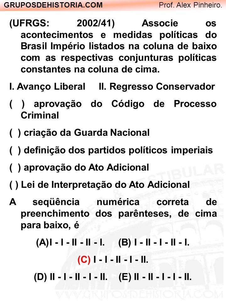 GRUPOSDEHISTORIA.COM Prof. Alex Pinheiro. (UFRGS: 2002/41) Associe os acontecimentos e medidas políticas do Brasil Império listados na coluna de baixo
