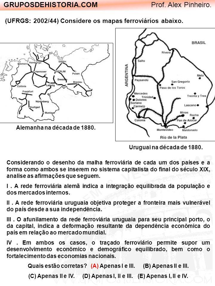 GRUPOSDEHISTORIA.COM Prof. Alex Pinheiro. (UFRGS: 2002/44) Considere os mapas ferroviários abaixo. Alemanha na década de 1880. Uruguai na década de 18