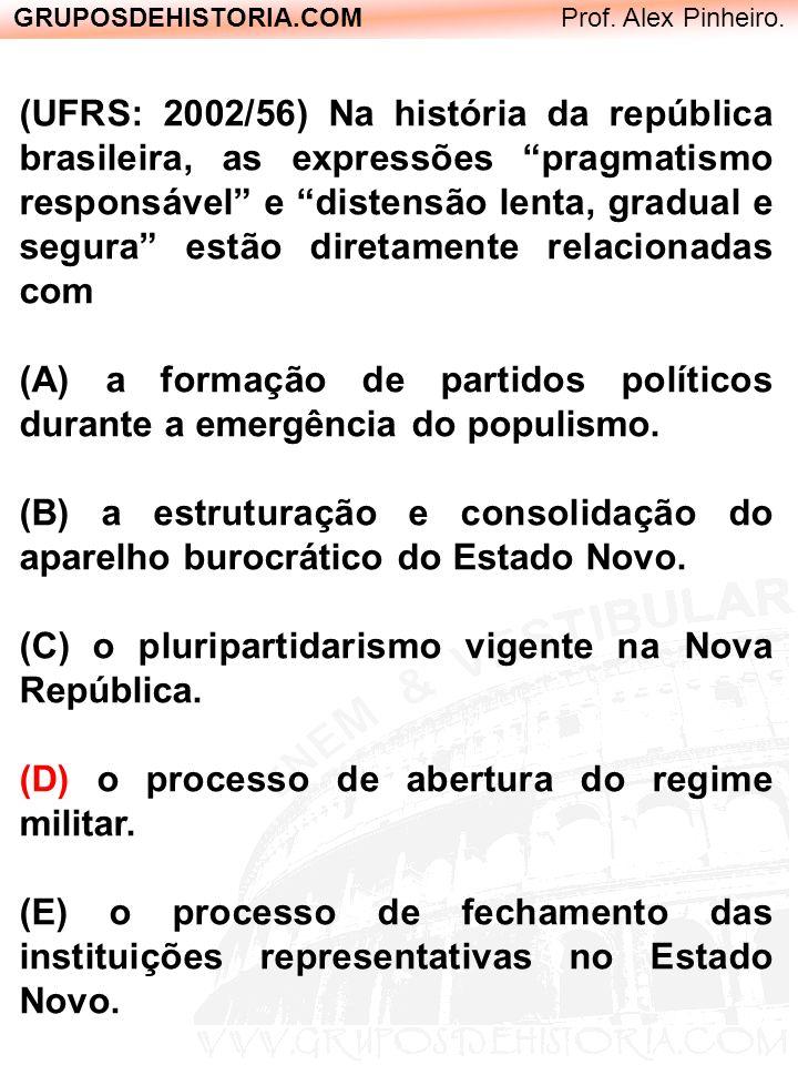 GRUPOSDEHISTORIA.COM Prof. Alex Pinheiro. (UFRS: 2002/56) Na história da república brasileira, as expressões pragmatismo responsável e distensão lenta