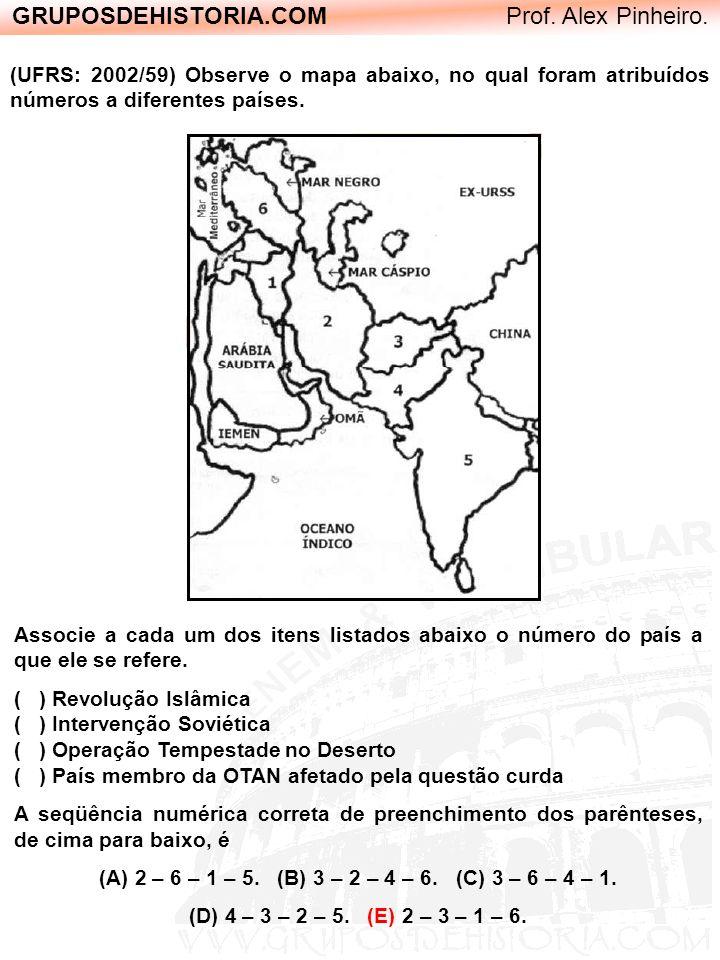 GRUPOSDEHISTORIA.COM Prof. Alex Pinheiro. (UFRS: 2002/59) Observe o mapa abaixo, no qual foram atribuídos números a diferentes países. Associe a cada