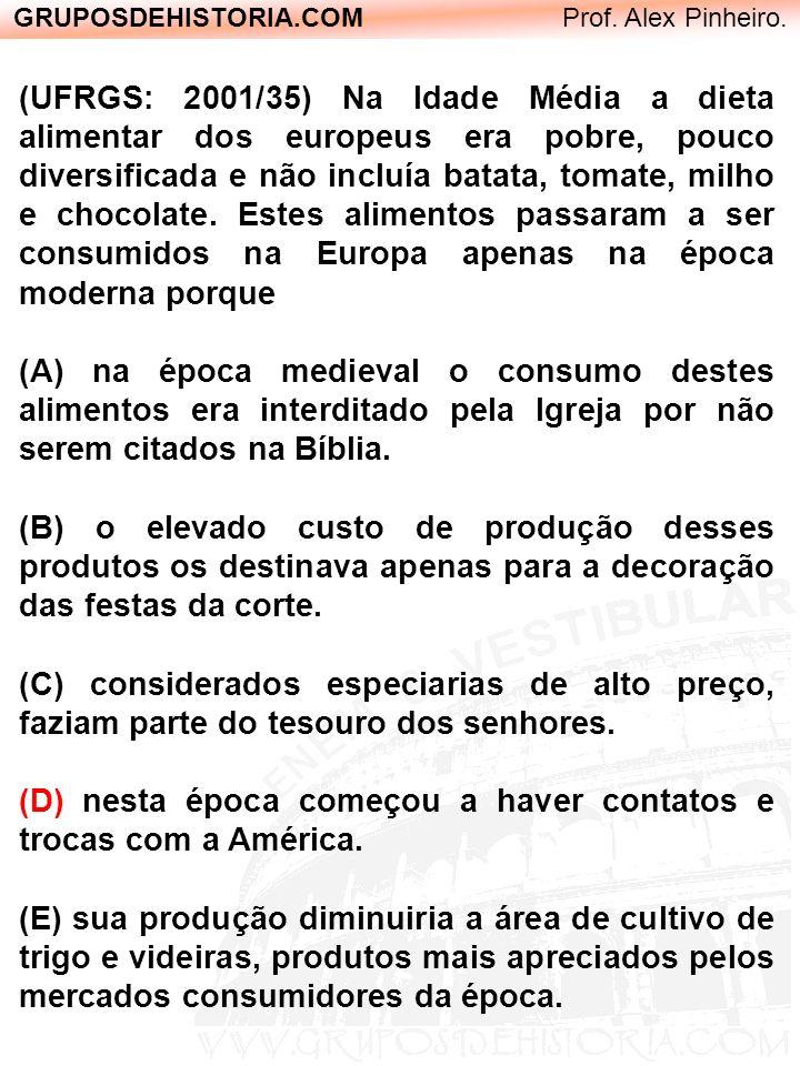 GRUPOSDEHISTORIA.COM Prof. Alex Pinheiro. (UFRGS: 2001/35) Na Idade Média a dieta alimentar dos europeus era pobre, pouco diversificada e não incluía