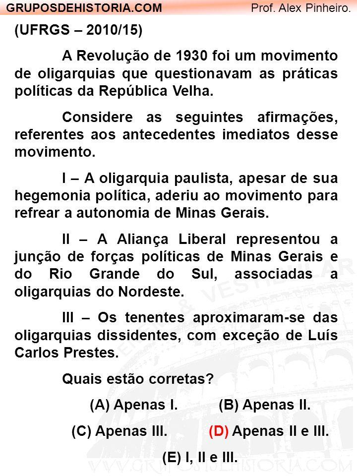 GRUPOSDEHISTORIA.COM Prof. Alex Pinheiro. (UFRGS – 2010/15) A Revolução de 1930 foi um movimento de oligarquias que questionavam as práticas políticas