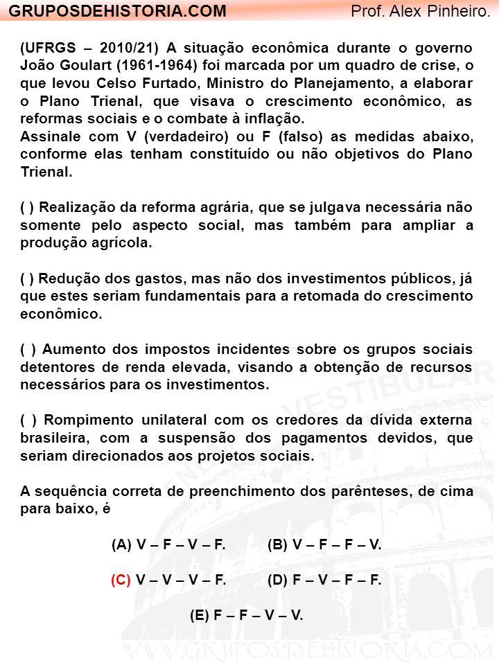 GRUPOSDEHISTORIA.COM Prof. Alex Pinheiro. (UFRGS – 2010/21) A situação econômica durante o governo João Goulart (1961-1964) foi marcada por um quadro