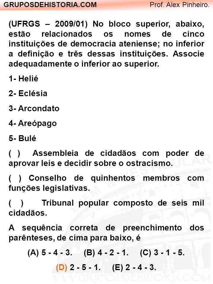 GRUPOSDEHISTORIA.COM Prof. Alex Pinheiro. (UFRGS – 2009/01) No bloco superior, abaixo, estão relacionados os nomes de cinco instituições de democracia