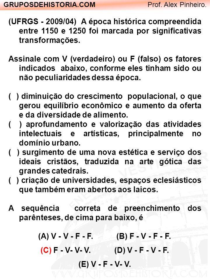 GRUPOSDEHISTORIA.COM Prof. Alex Pinheiro. (UFRGS - 2009/04) A época histórica compreendida entre 1150 e 1250 foi marcada por significativas transforma