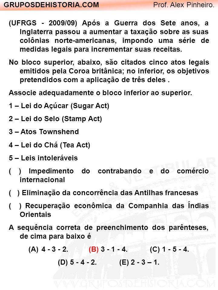 GRUPOSDEHISTORIA.COM Prof. Alex Pinheiro. (UFRGS - 2009/09) Após a Guerra dos Sete anos, a Inglaterra passou a aumentar a taxação sobre as suas colôni