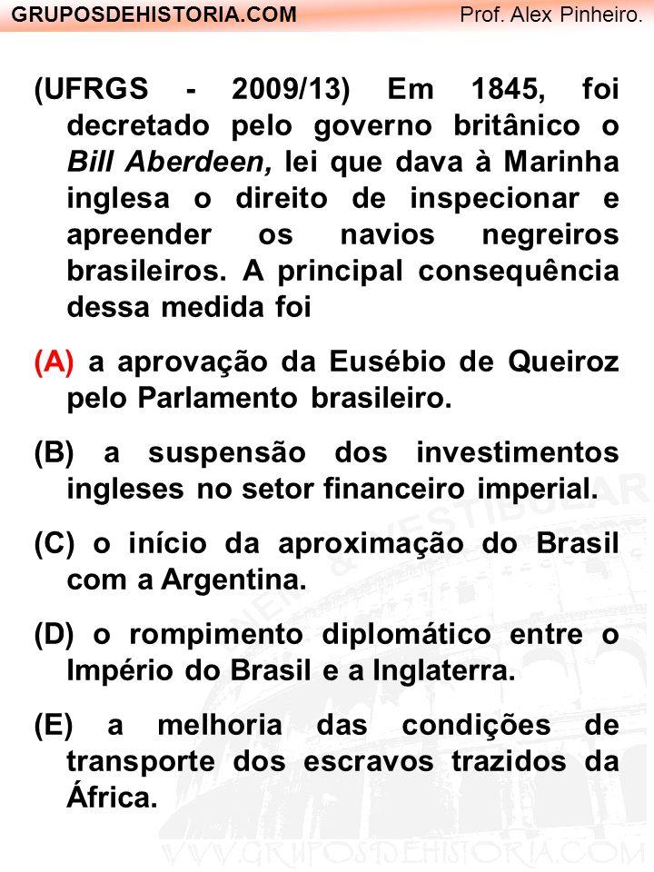 GRUPOSDEHISTORIA.COM Prof. Alex Pinheiro. (UFRGS - 2009/13) Em 1845, foi decretado pelo governo britânico o Bill Aberdeen, lei que dava à Marinha ingl