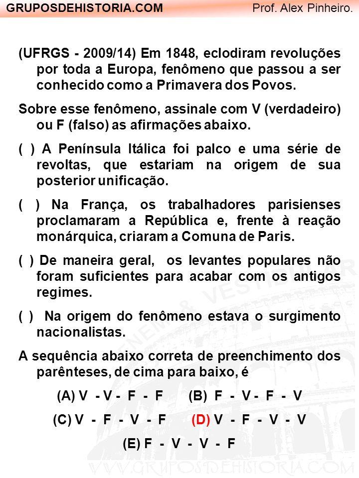 GRUPOSDEHISTORIA.COM Prof. Alex Pinheiro. (UFRGS - 2009/14) Em 1848, eclodiram revoluções por toda a Europa, fenômeno que passou a ser conhecido como
