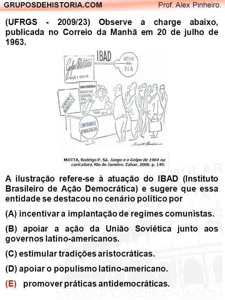 GRUPOSDEHISTORIA.COM Prof. Alex Pinheiro. (UFRGS - 2009/23) Observe a charge abaixo, publicada no Correio da Manhã em 20 de julho de 1963. A ilustraçã