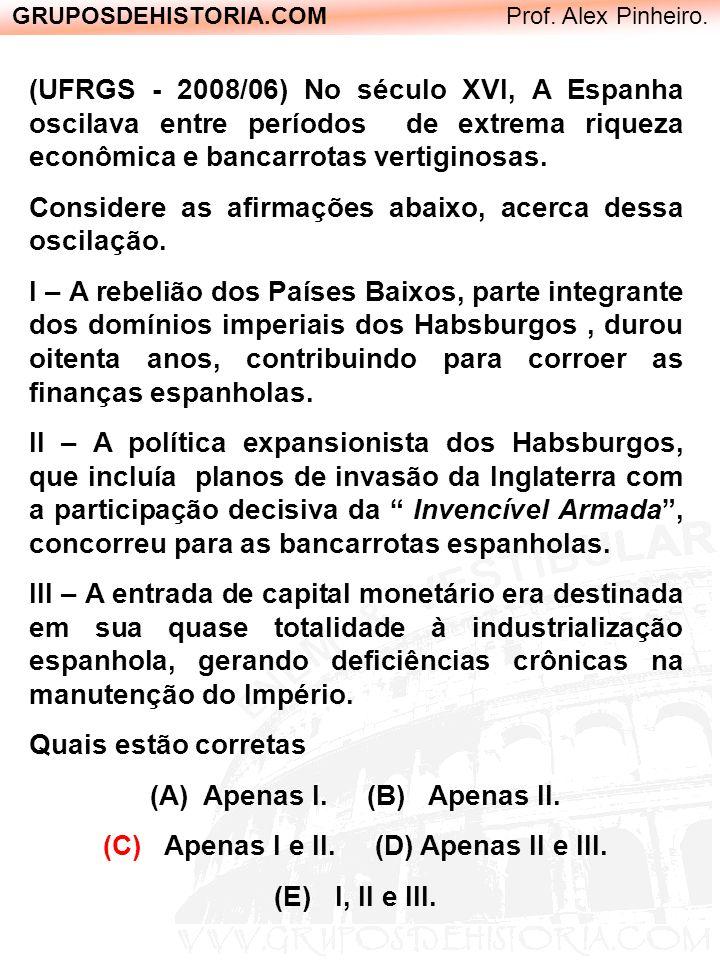 GRUPOSDEHISTORIA.COM Prof. Alex Pinheiro. (UFRGS - 2008/06) No século XVI, A Espanha oscilava entre períodos de extrema riqueza econômica e bancarrota