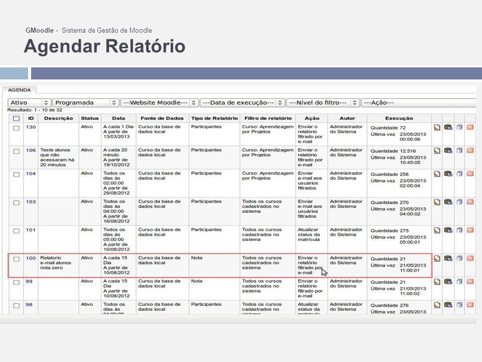GMoodle - Sistema de Gestão de Moodle Agendar Relatório