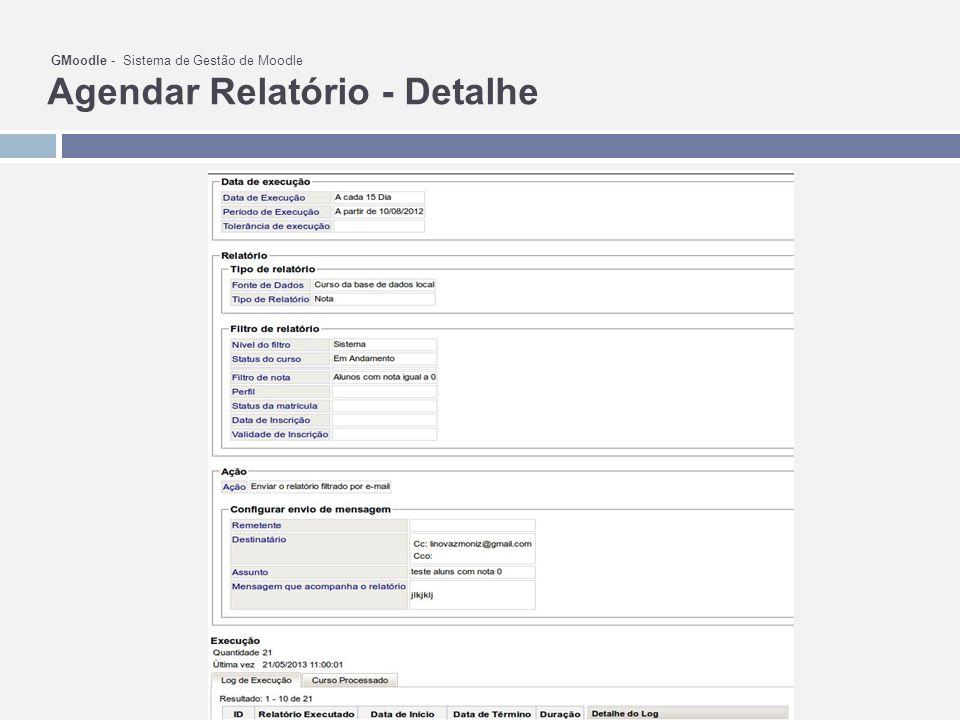 GMoodle - Sistema de Gestão de Moodle Agendar Relatório - Detalhe