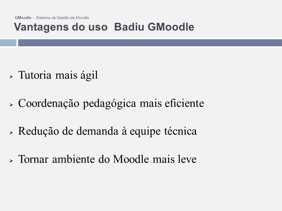 GMoodle - Sistema de Gestão de Moodle Vantagens do uso Badiu GMoodle Tutoria mais ágil Coordenação pedagógica mais eficiente Redução de demanda à equipe técnica Tornar ambiente do Moodle mais leve