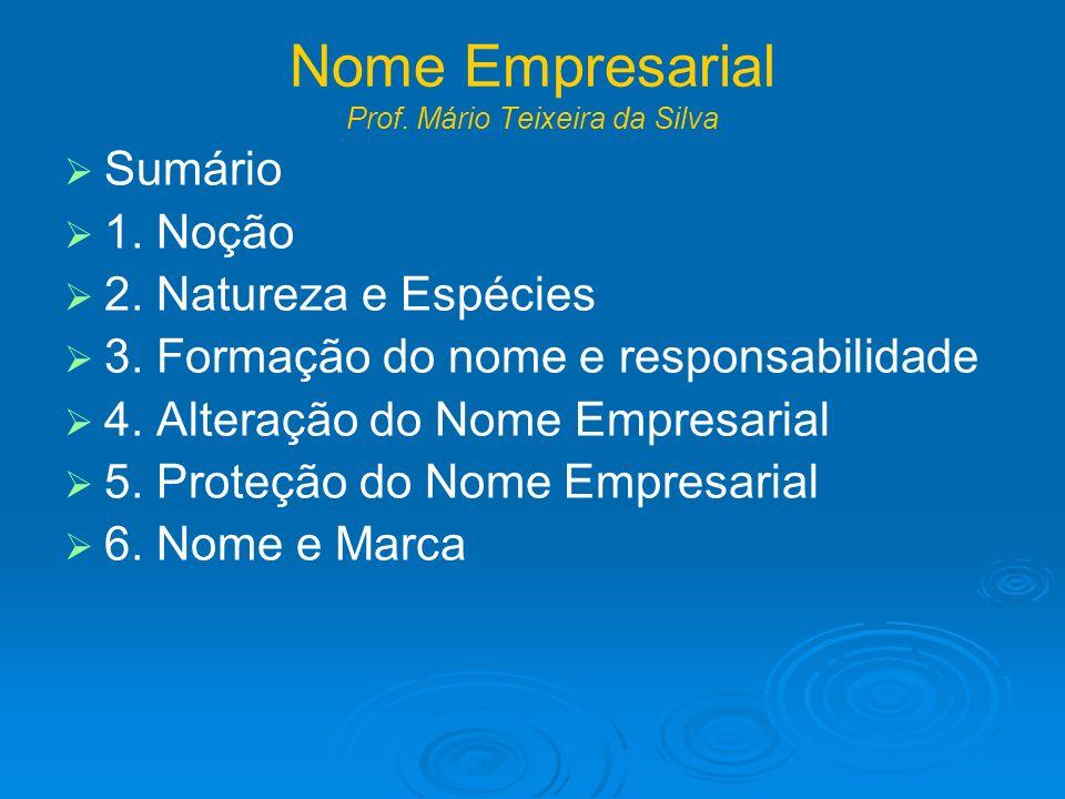 Nome Empresarial Prof. Mário Teixeira da Silva Sumário 1. Noção 2. Natureza e Espécies 3. Formação do nome e responsabilidade 4. Alteração do Nome Emp