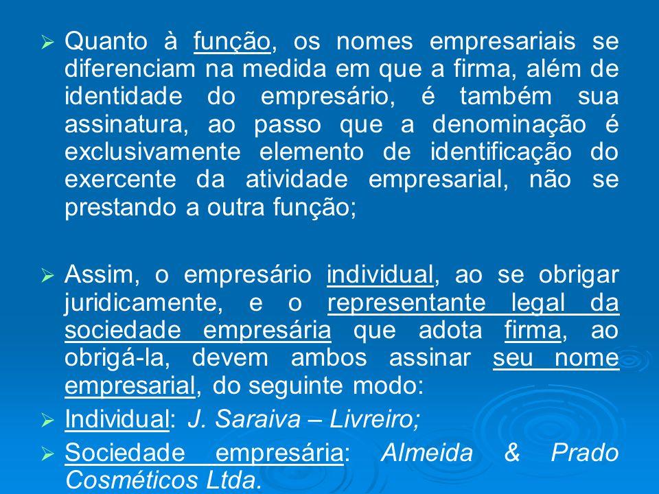 Quanto à função, os nomes empresariais se diferenciam na medida em que a firma, além de identidade do empresário, é também sua assinatura, ao passo qu