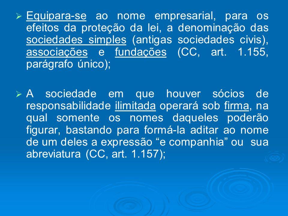 Equipara-se ao nome empresarial, para os efeitos da proteção da lei, a denominação das sociedades simples (antigas sociedades civis), associações e fu