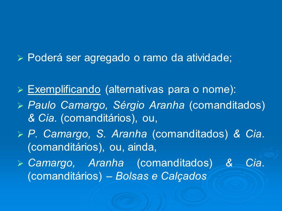 Poderá ser agregado o ramo da atividade; Exemplificando (alternativas para o nome): Paulo Camargo, Sérgio Aranha (comanditados) & Cia. (comanditários)