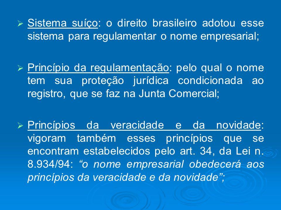 Sistema suíço: o direito brasileiro adotou esse sistema para regulamentar o nome empresarial; Princípio da regulamentação: pelo qual o nome tem sua pr