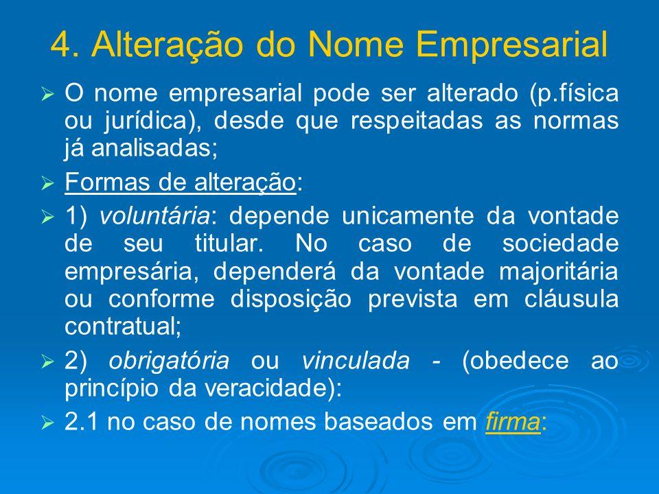 4. Alteração do Nome Empresarial O nome empresarial pode ser alterado (p.física ou jurídica), desde que respeitadas as normas já analisadas; Formas de