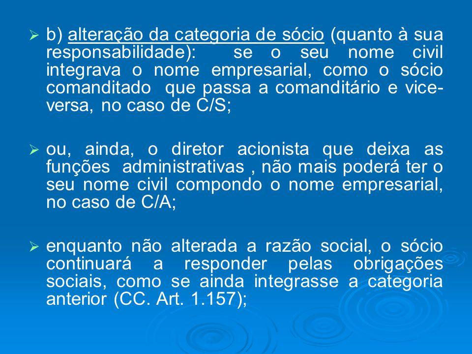 b) alteração da categoria de sócio (quanto à sua responsabilidade): se o seu nome civil integrava o nome empresarial, como o sócio comanditado que pas