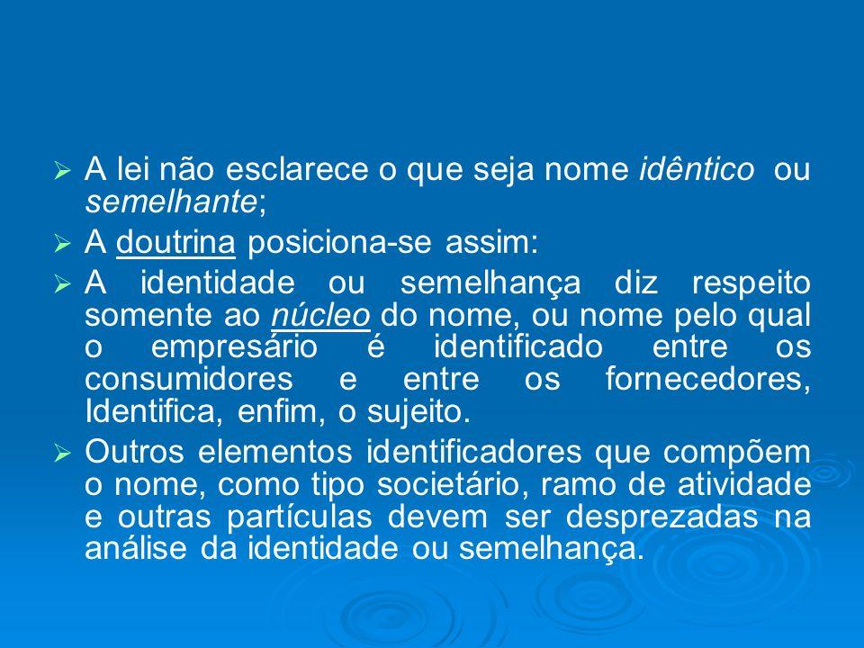 A lei não esclarece o que seja nome idêntico ou semelhante; A doutrina posiciona-se assim: A identidade ou semelhança diz respeito somente ao núcleo d