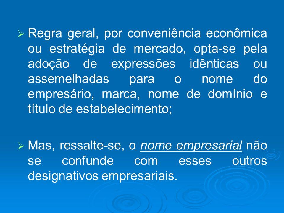 Regra geral, por conveniência econômica ou estratégia de mercado, opta-se pela adoção de expressões idênticas ou assemelhadas para o nome do empresári