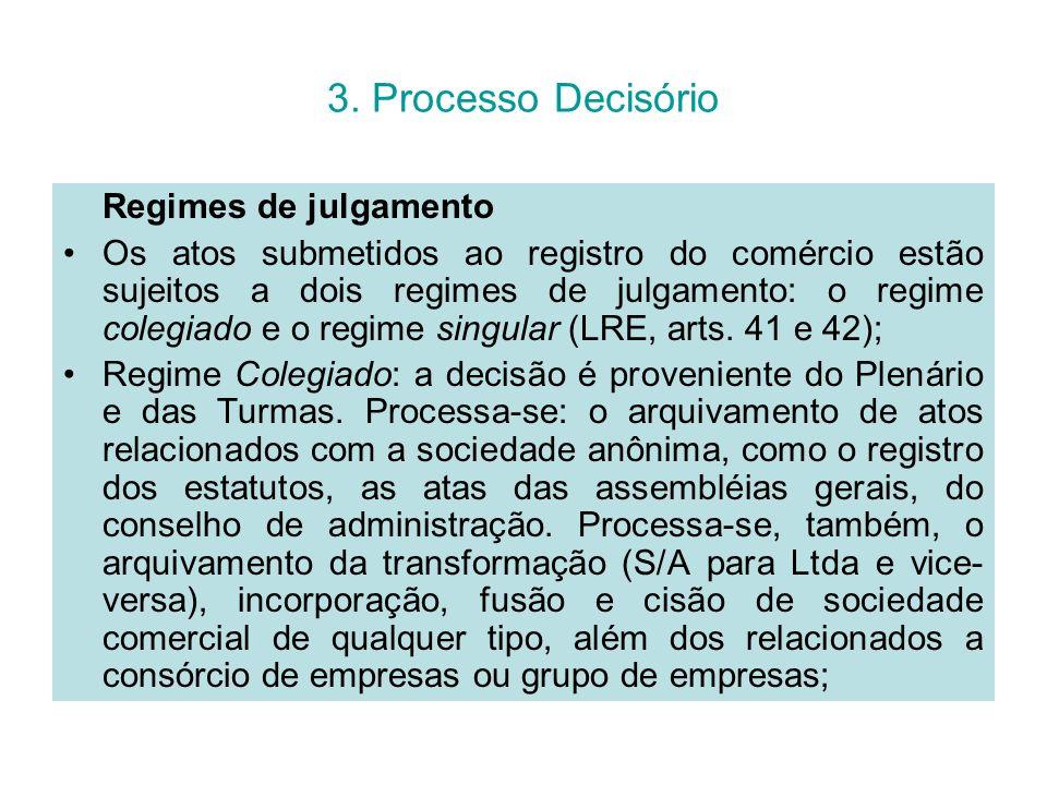 3. Processo Decisório Regimes de julgamento Os atos submetidos ao registro do comércio estão sujeitos a dois regimes de julgamento: o regime colegiado