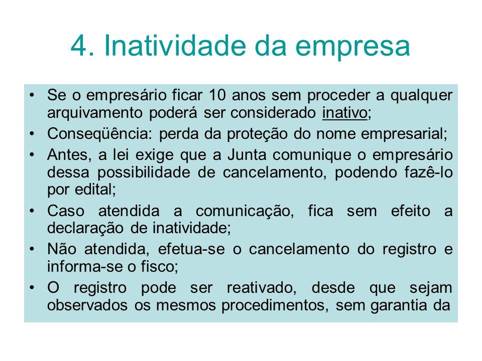 4. Inatividade da empresa Se o empresário ficar 10 anos sem proceder a qualquer arquivamento poderá ser considerado inativo; Conseqüência: perda da pr