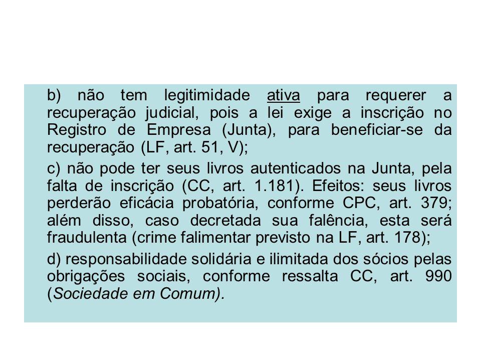 b) não tem legitimidade ativa para requerer a recuperação judicial, pois a lei exige a inscrição no Registro de Empresa (Junta), para beneficiar-se da