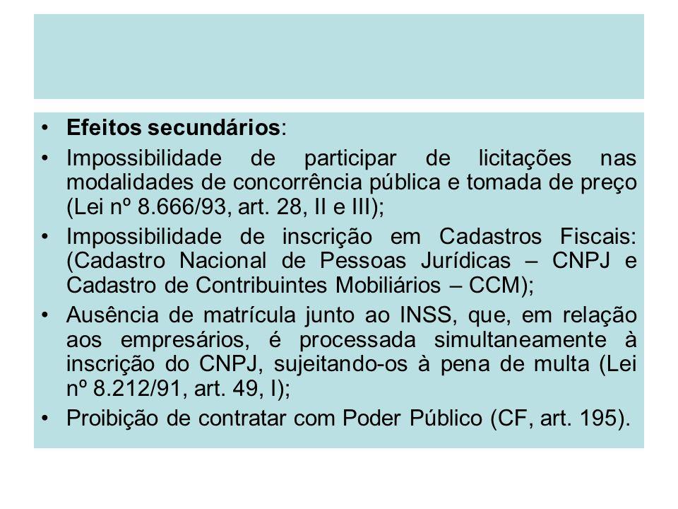 Efeitos secundários: Impossibilidade de participar de licitações nas modalidades de concorrência pública e tomada de preço (Lei nº 8.666/93, art. 28,