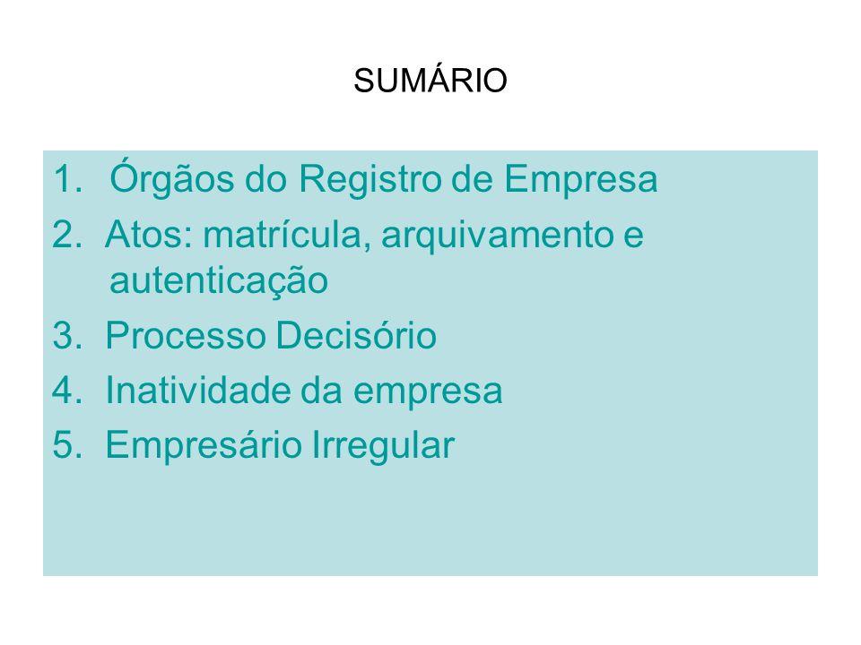 SUMÁRIO 1.Órgãos do Registro de Empresa 2. Atos: matrícula, arquivamento e autenticação 3. Processo Decisório 4. Inatividade da empresa 5. Empresário