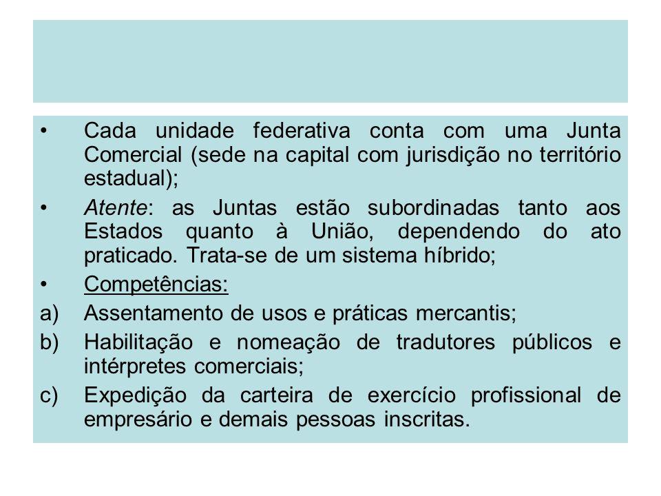 Cada unidade federativa conta com uma Junta Comercial (sede na capital com jurisdição no território estadual); Atente: as Juntas estão subordinadas ta